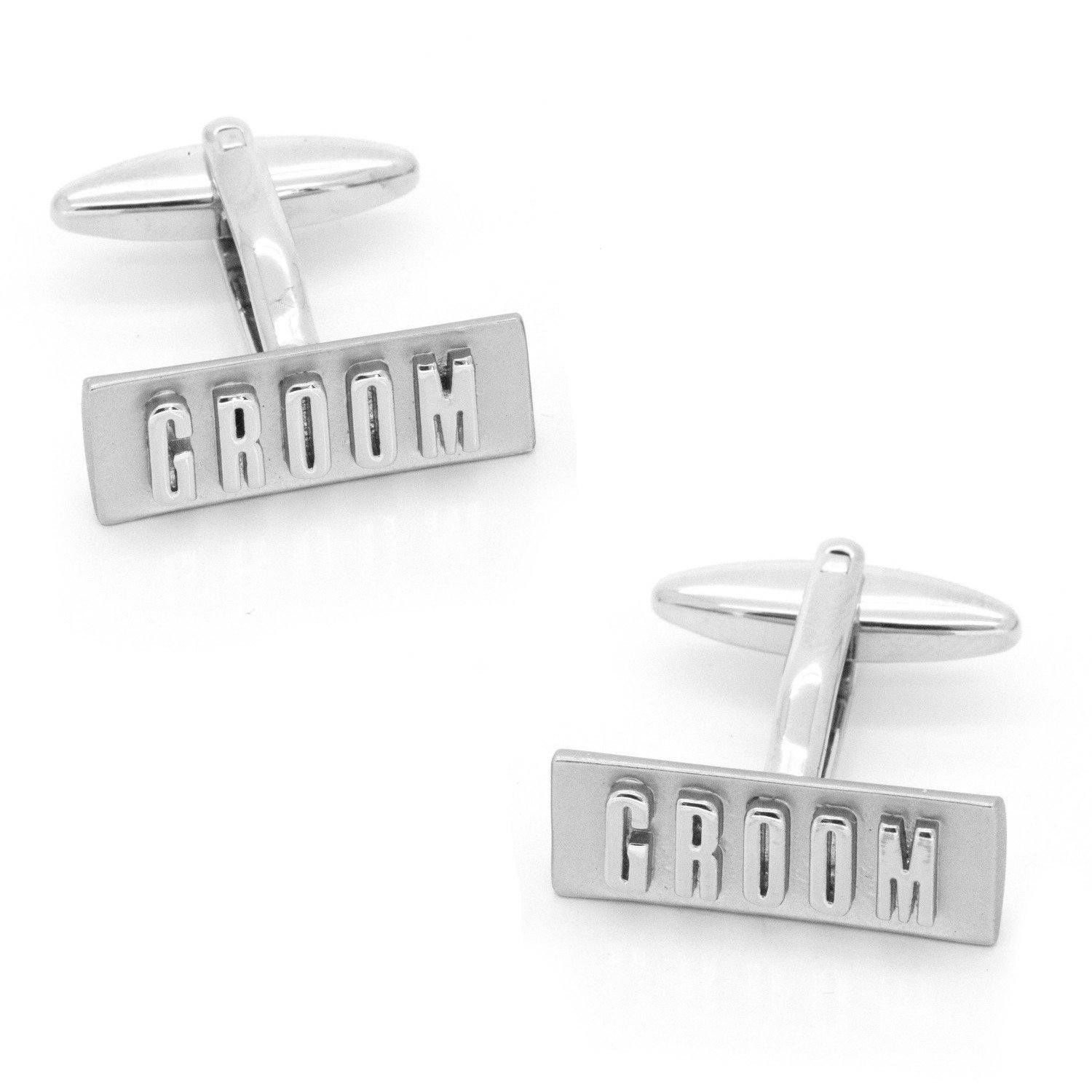 Groom Raised Lettering Cufflinks, Wedding Cufflinks, Cuffed.com.au, CL9550, $59.95