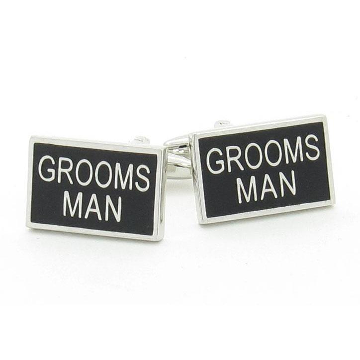 Grooms Man Black and Silver Wedding Cufflinks, Wedding Cufflinks, Cuffed.com.au, CL9502, $29.00