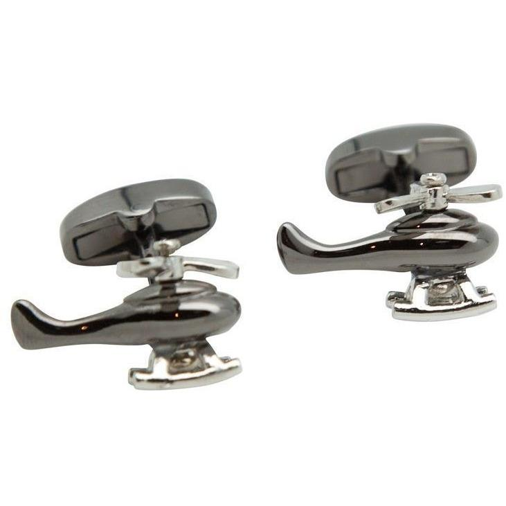Gunmetal and Silver Helicopter Cufflinks, Novelty Cufflinks, Cuffed.com.au, CL6861, $29.00