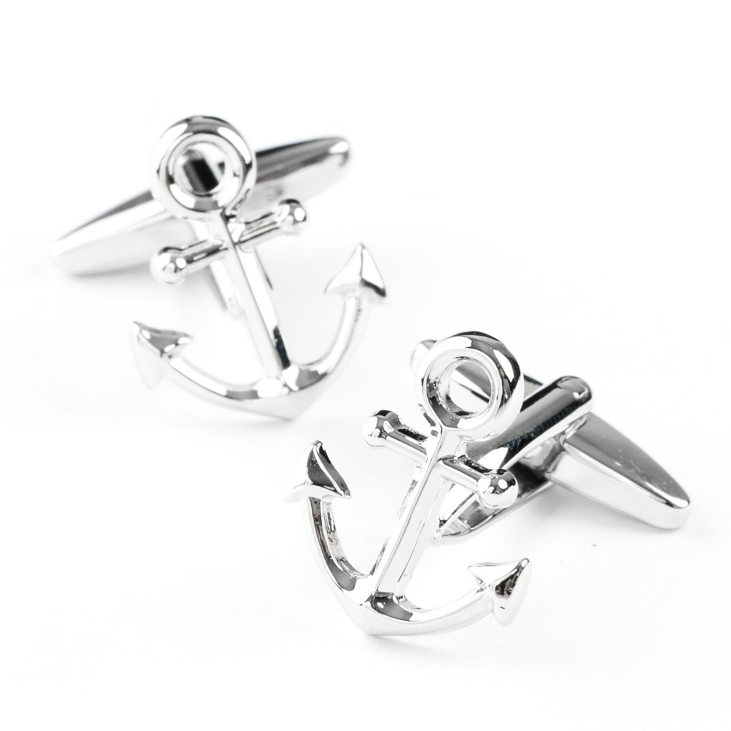 Shiny Silver Ship Anchor Cufflinks, Novelty Cufflinks, Cuffed.com.au, CL6411, Nautical, Clinks Australia