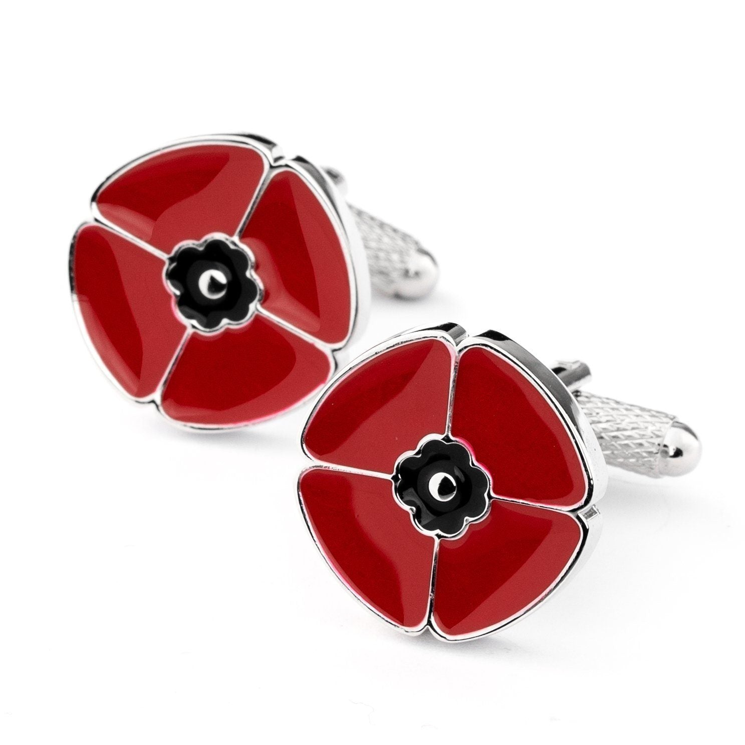 Red Poppy Remembrance Cufflinks, Novelty Cufflinks, Cuffed.com.au, CL2012, Military, Military & Weaponry, Novelty Cufflinks, Red, Clinks Australia