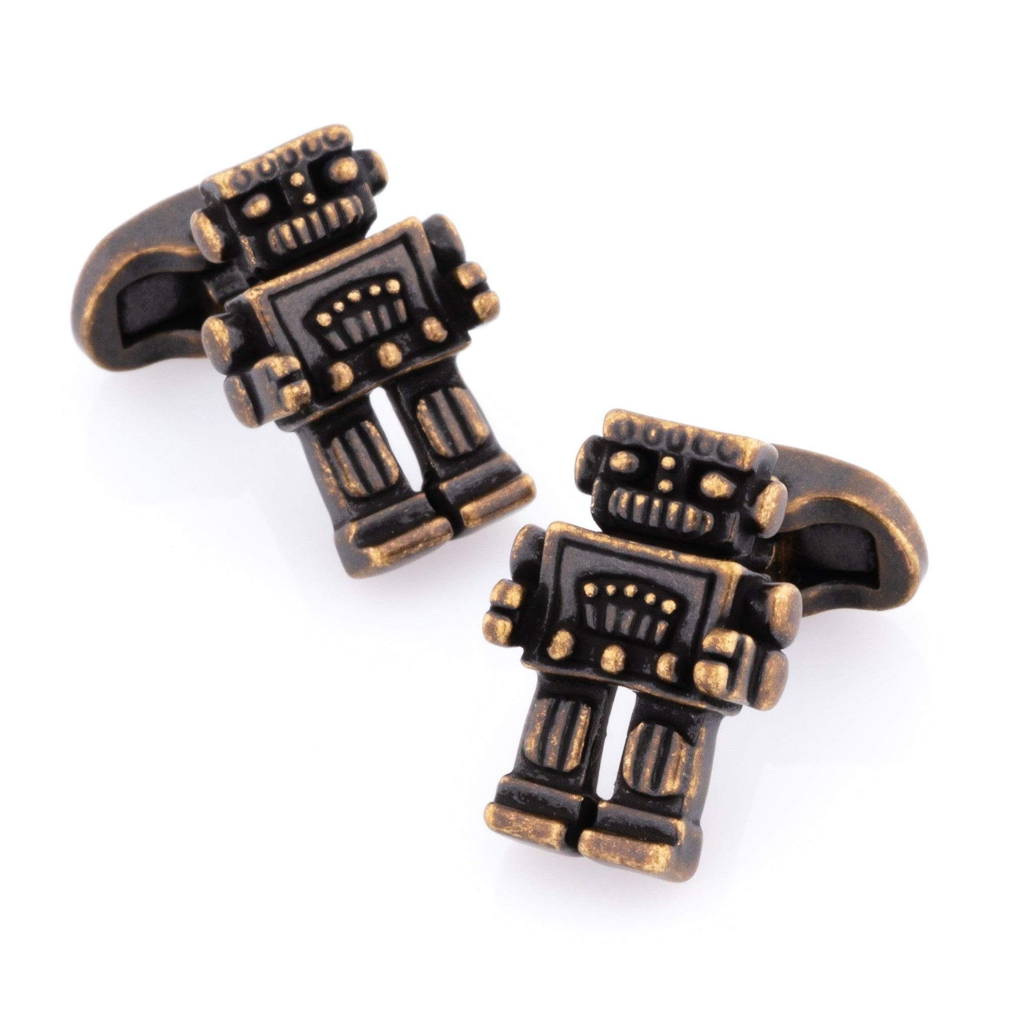 Robot Cufflinks in Antique Burnished Gold