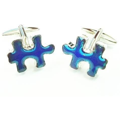 Jigsaw Piece Blue Cufflinks, Novelty Cufflinks, Cuffed.com.au, ZBC2050, $39.60