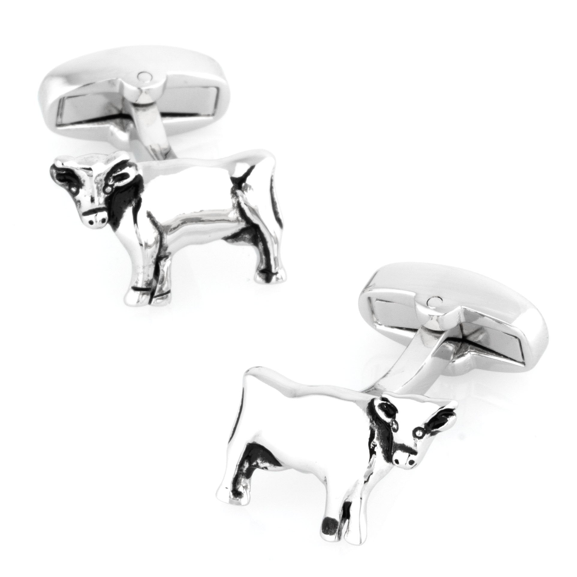 Silver Cow Cufflinks, Novelty Cufflinks, Cuffed.com.au, CL7081, Animals, Farm, Clinks Australia