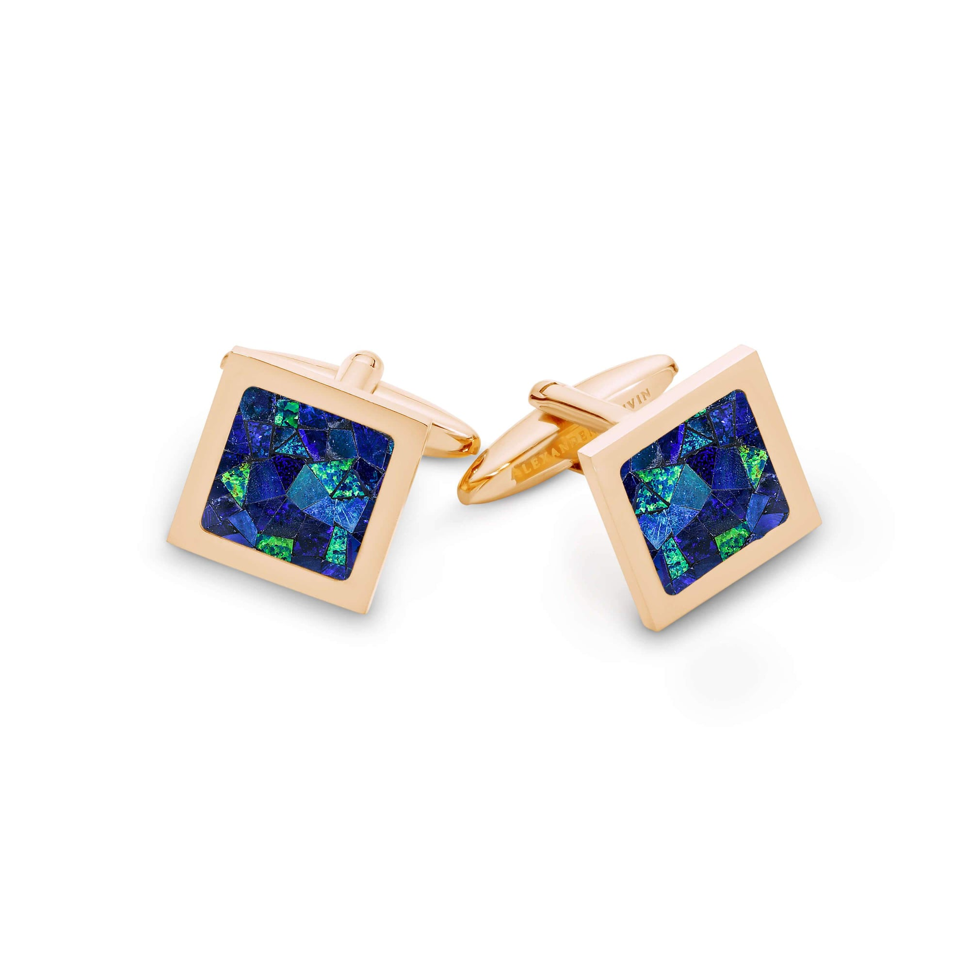 Square Premium Opal Cufflinks (Blue with Rose Gold) Classic & Modern Cufflinks Clinks Australia Default
