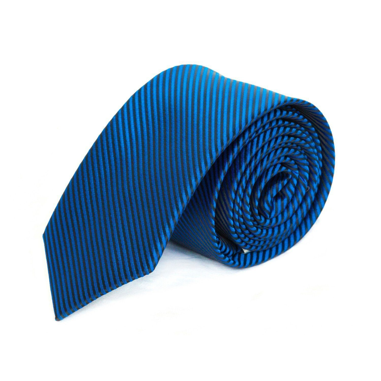 Electric Blue and Black Stripe MF Tie Ties Cuffed.com.au