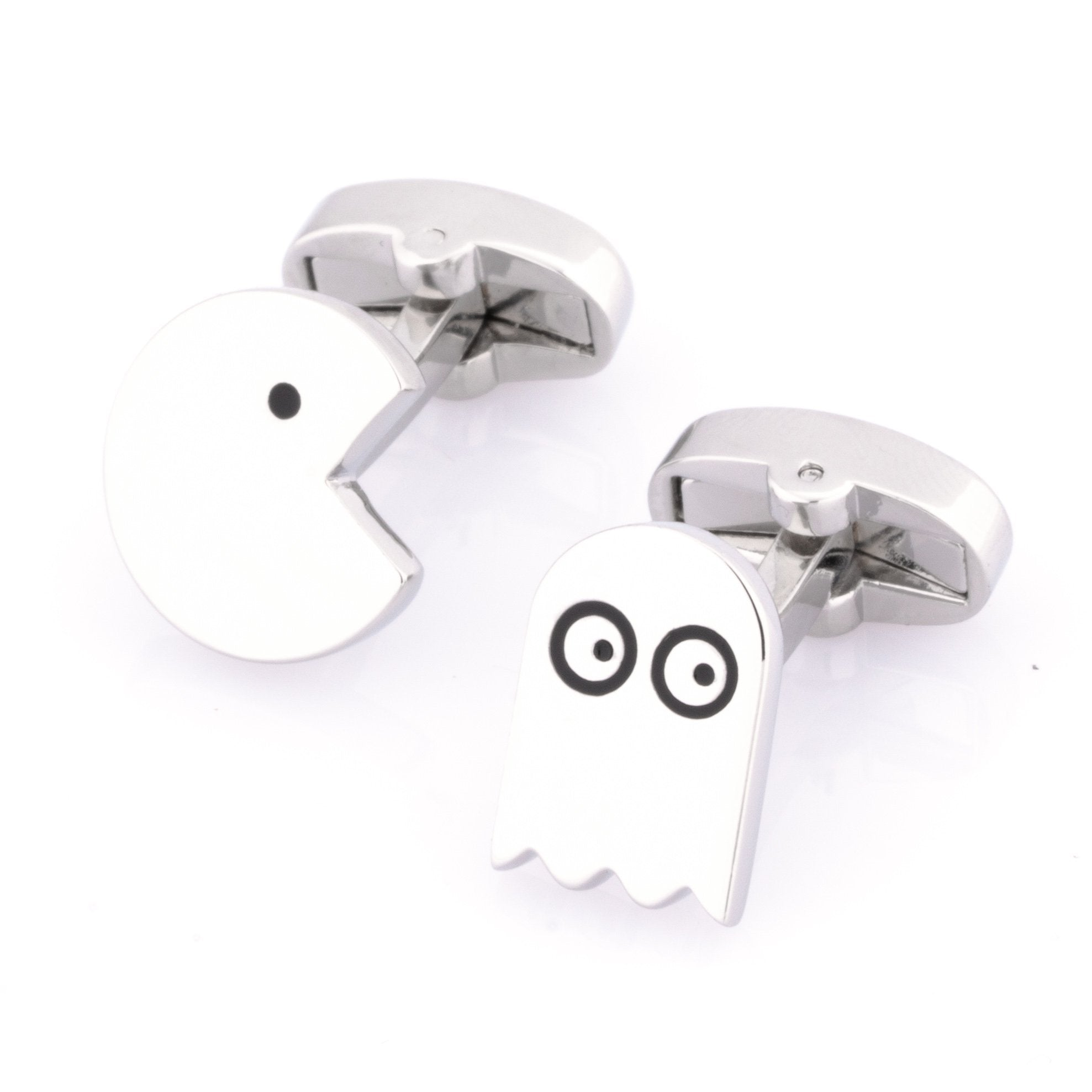 PacMan Cufflinks Silver, Novelty Cufflinks, Cuffed.com.au, CL9183, Games, Silver, Technology, Clinks Australia