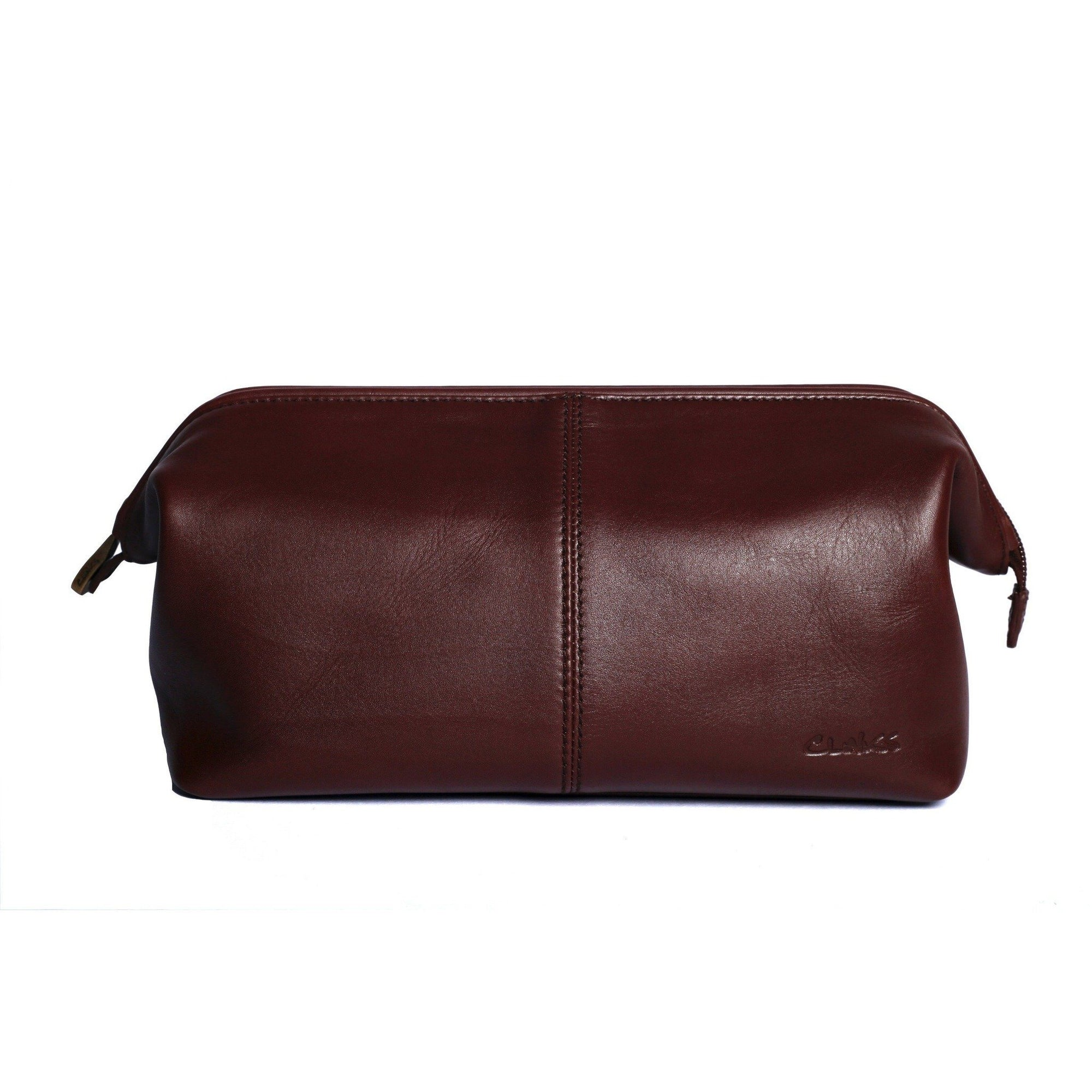 Large Leather Toiletry Dopp Bag in Dark Cognac, Leather Accessories, Cuffed.com.au, LB1021, $49.00