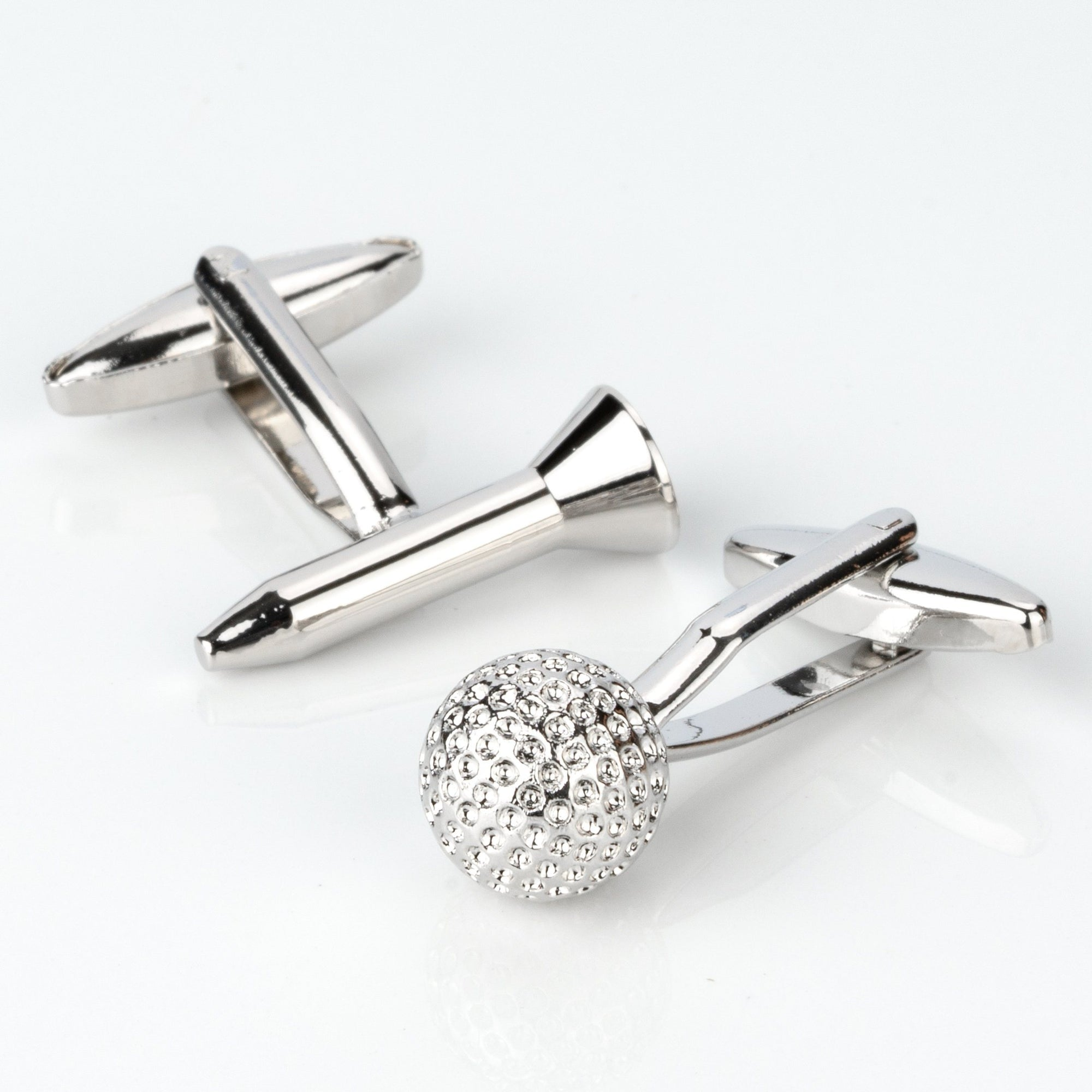 Golf Ball and Tee Silver Cufflinks, Novelty Cufflinks, Cuffed.com.au, CL4200, Silver, Sports, Clinks Australia
