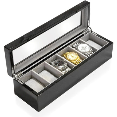 Long Watch Box with Glass Top 6 Compartments Black Clinks Australia