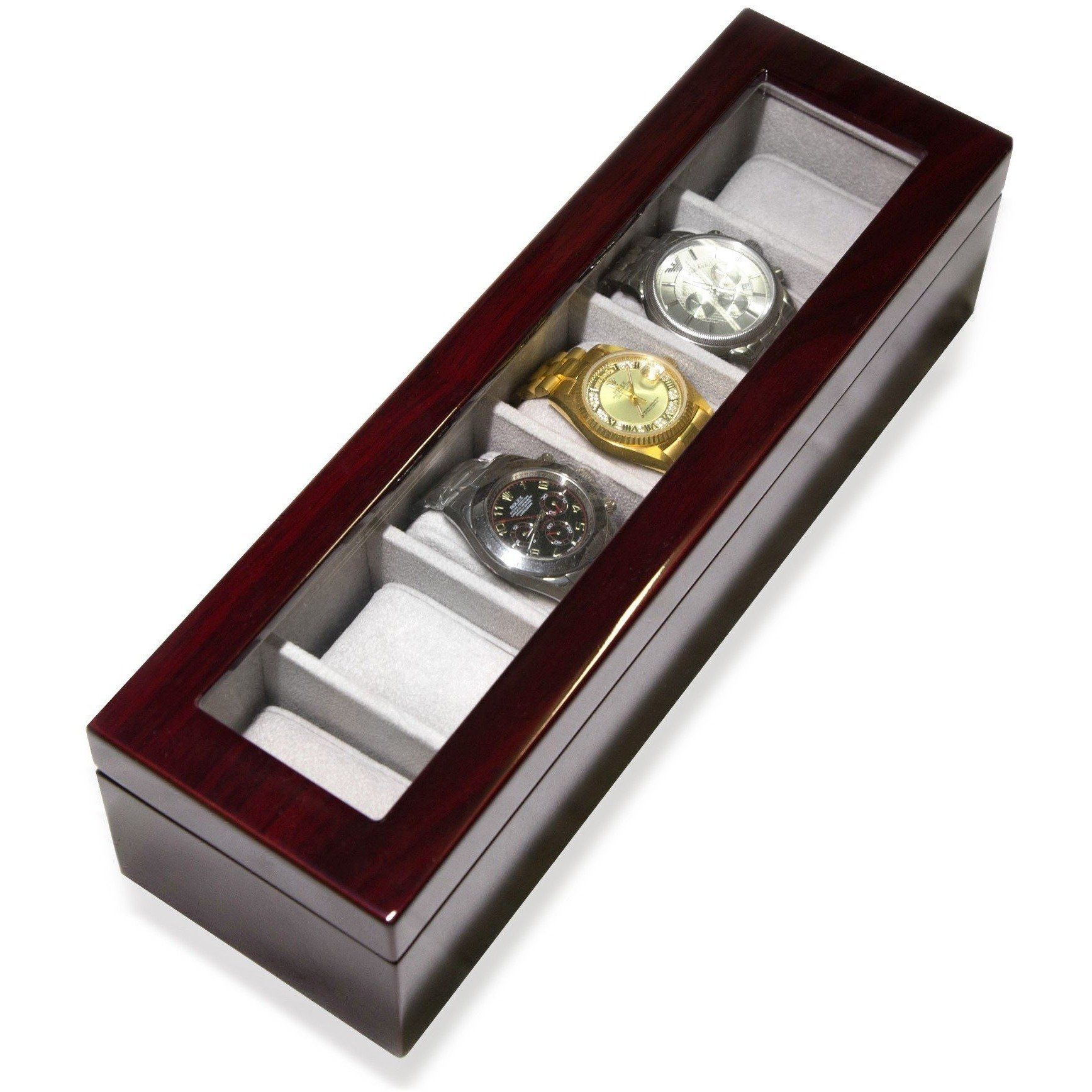 Long Watch Box with Glass Top 6 Compartments Mahogany, Storage Boxes, Cuffed.com.au, CB3420, $99.00