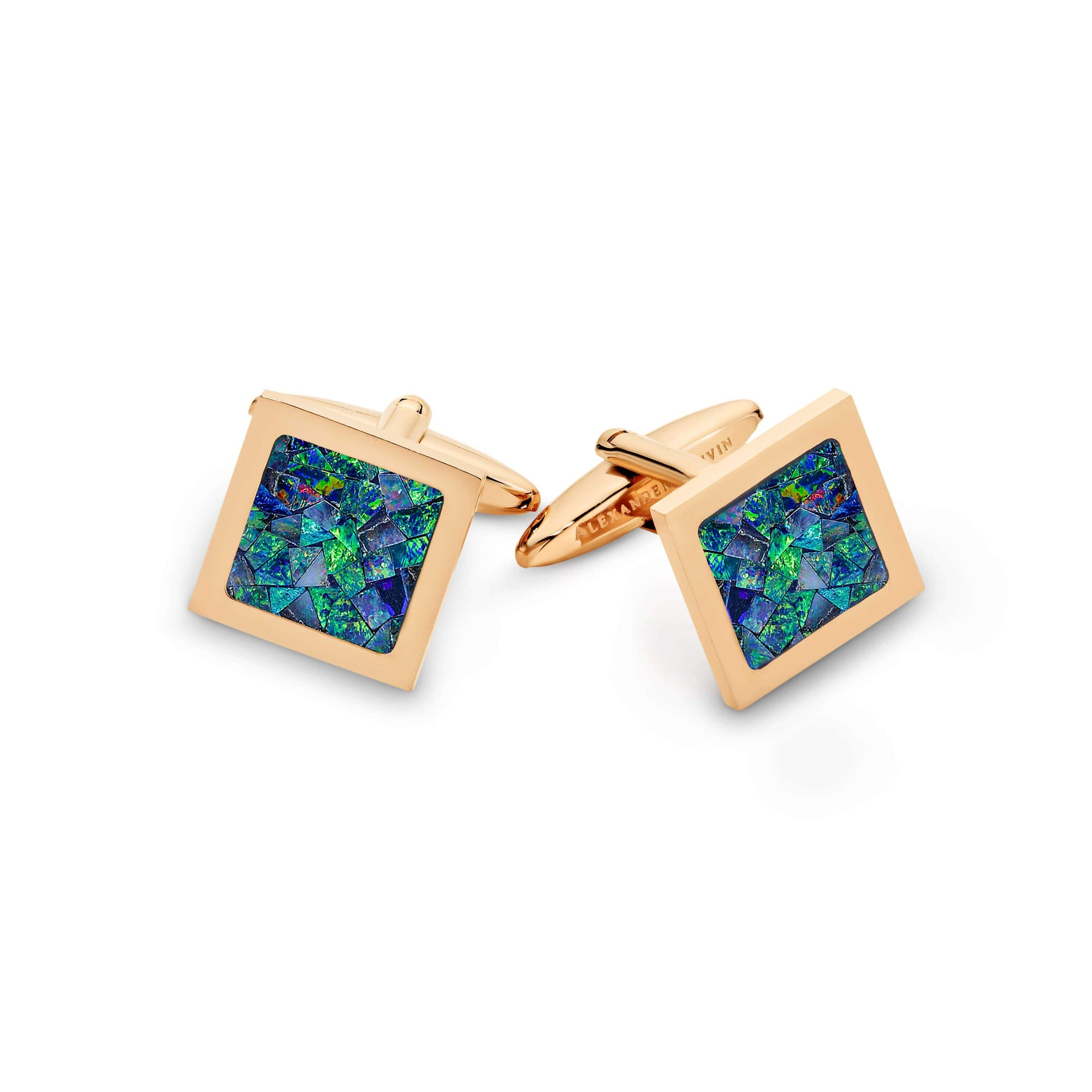 Square Premium Opal Cufflinks (Green Rose Gold) Classic & Modern Cufflinks Clinks Australia Default