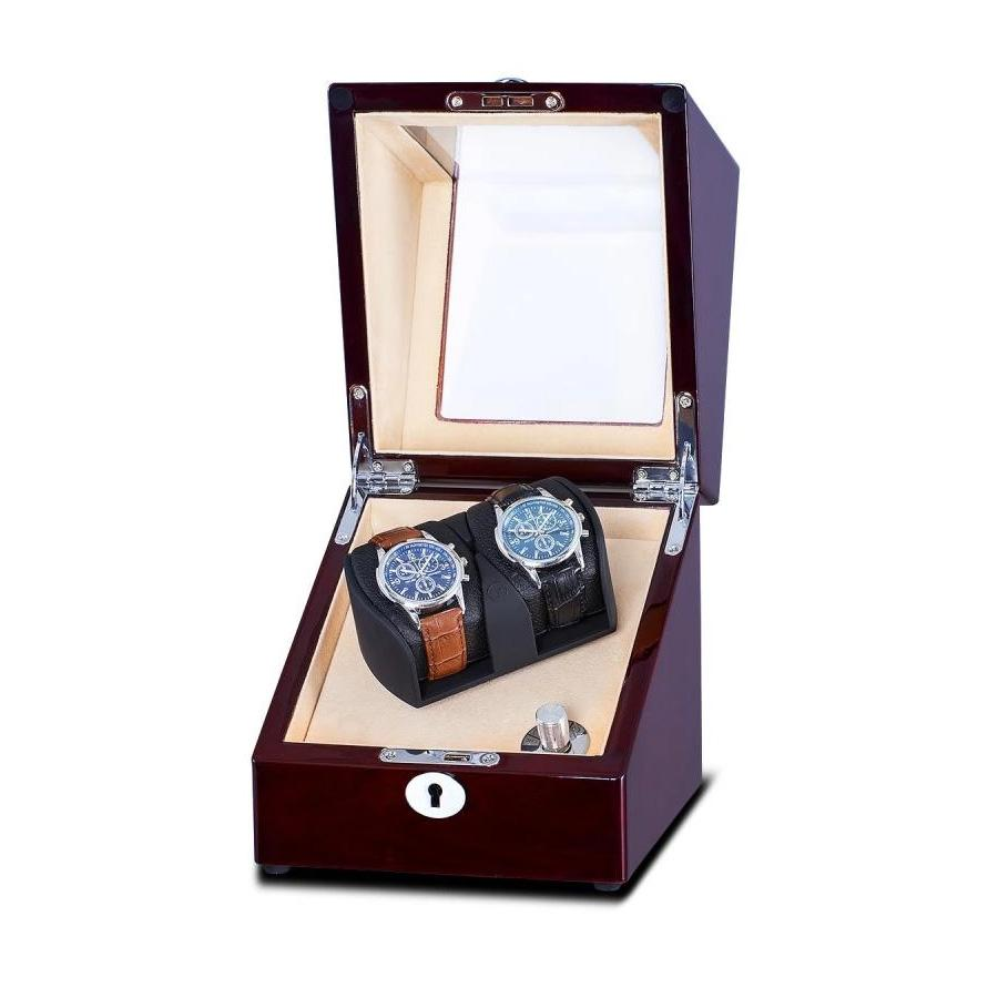 Mahogany Watch Winder Box for 2 Watches (Single Rotor) Watch Winder Boxes Clinks Australia Default