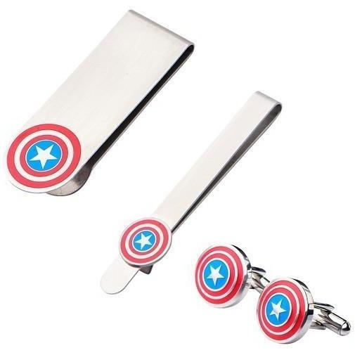Marvel Captain America Gift Set with Cufflinks Tie Bar and Money Clip, Novelty Cufflinks, Cuffed.com.au, CL5867, $69.00