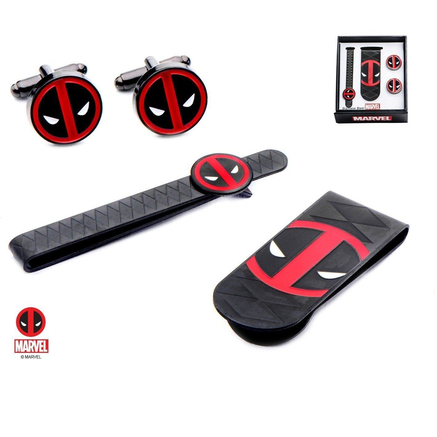 Marvel Deadpool Gift Set with Cufflinks Tie Bar and Money Clip Novelty Cufflinks Marvel Comics Marvel Deadpool Gift Set with Cufflinks Tie Bar and Money Clip