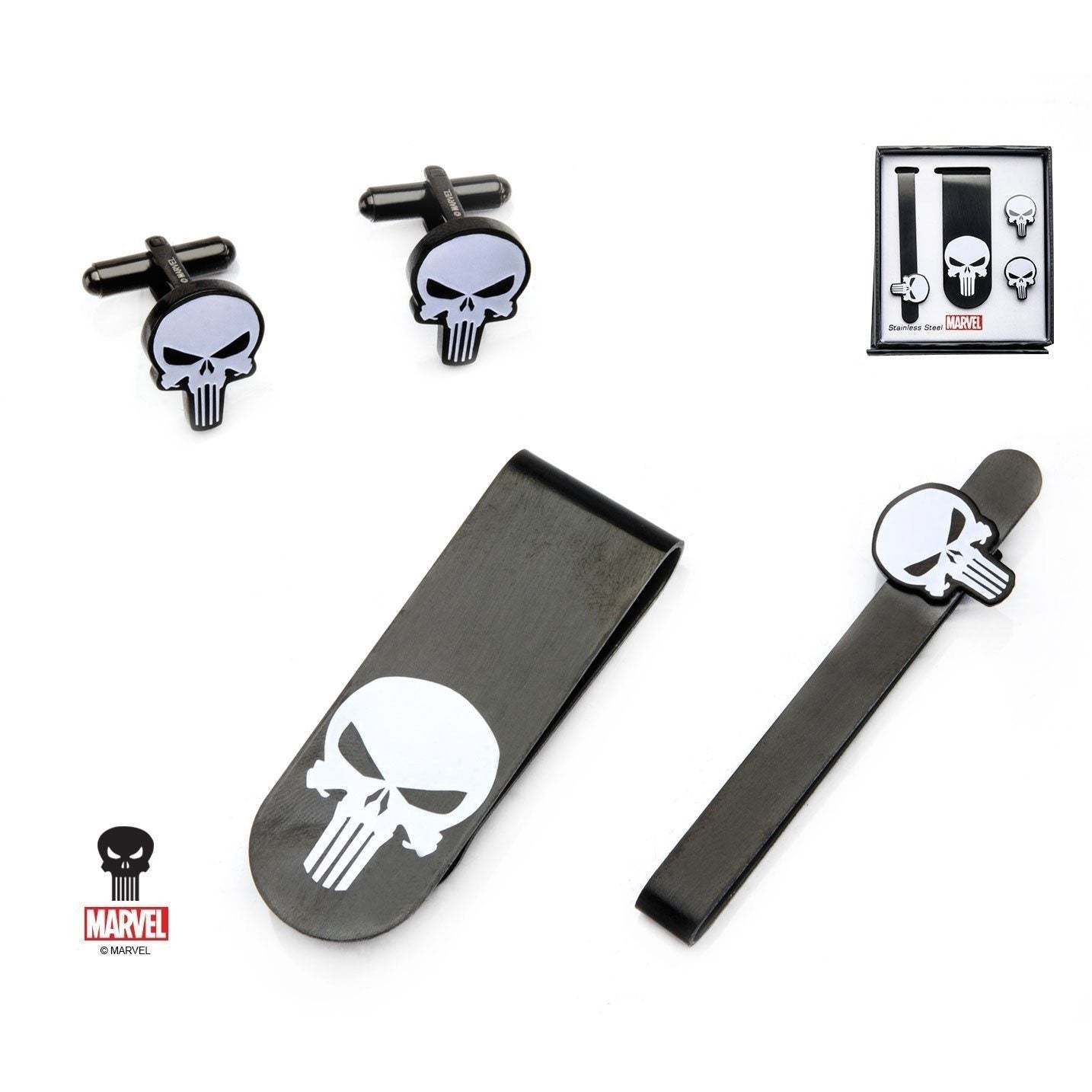 Marvel Punisher Gift Set with Cufflinks Tie Bar and Money Clip Marvel Comics