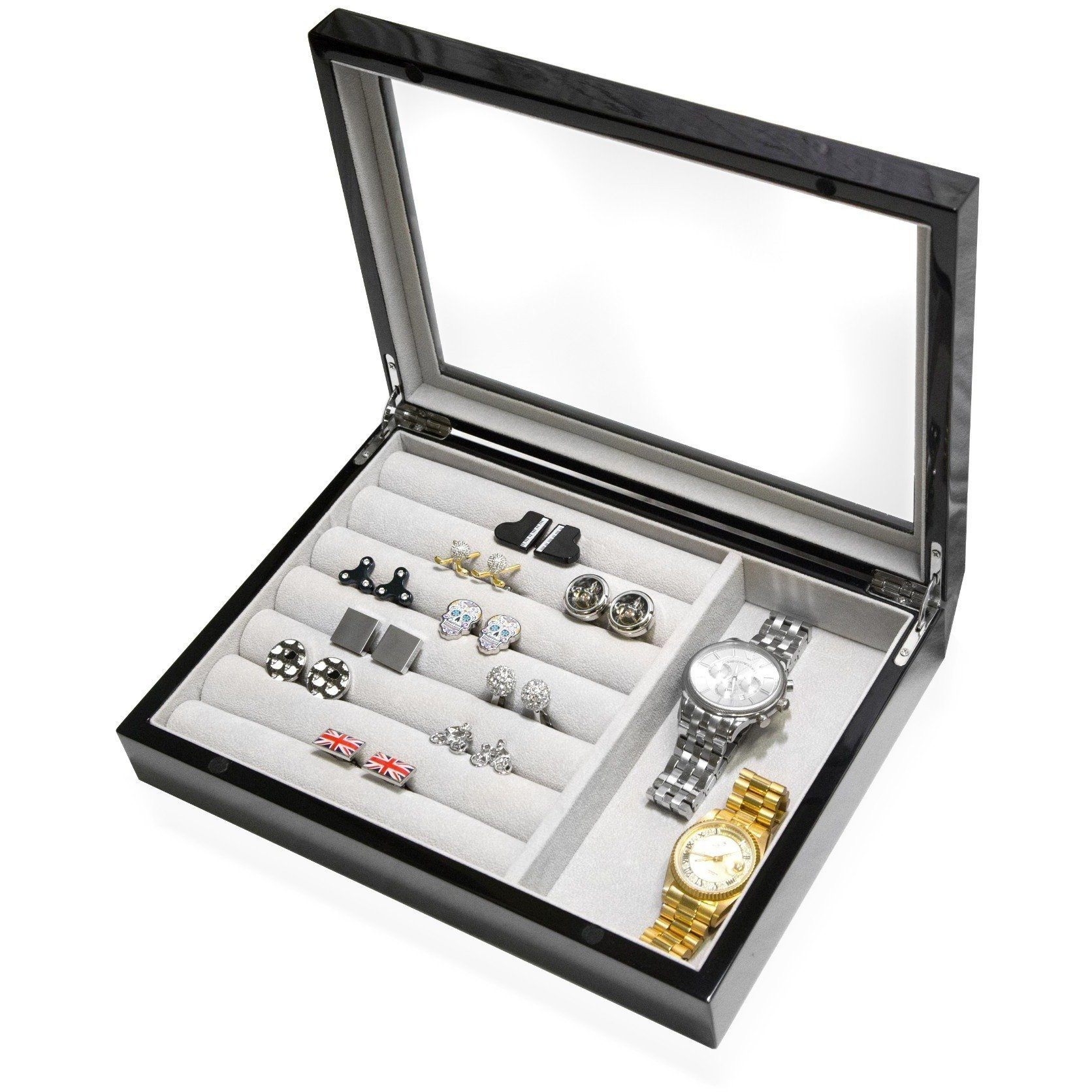 Medium Cufflink and Valet Box Black, Storage Boxes, Cuffed.com.au, CB3046, $125.00