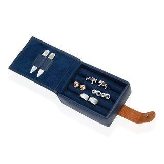 Leather Cufflink Wallet - Blue Storage Boxes Clinks Australia