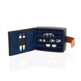 Leather Cufflink Wallet - Black Storage Boxes Clinks Australia