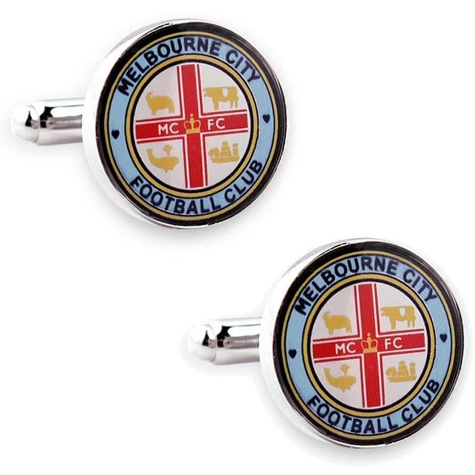 Melbourne City FC A-League Football Cufflinks, Novelty Cufflinks, Cuffed.com.au, CL5128, $35.00