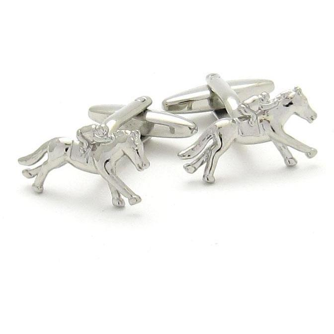 """Melbourne Cup"" Horse Racing Silver Cufflinks, Novelty Cufflinks, Cuffed.com.au, CL6300, $19.00"