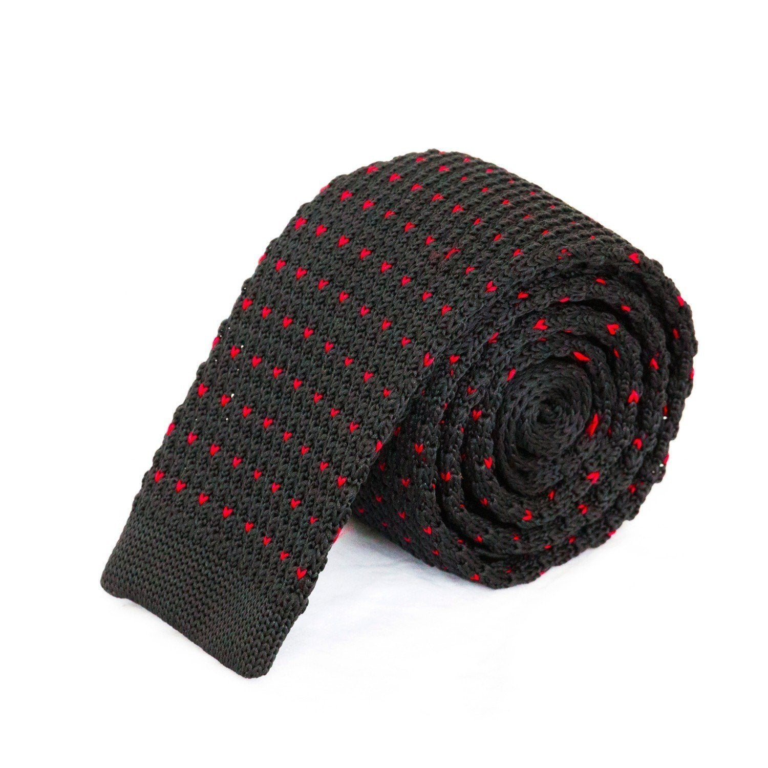 Black with Red Dot Knit Tie