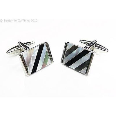 Mother of PearlOnyx Diagonal Cufflinks Classic & Modern Cufflinks Clinks Australia Mother of Pearl Onyx Diagonal Cufflinks