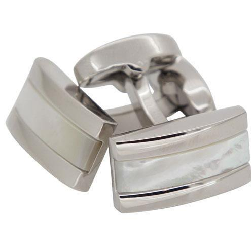 Mother of Pearl in Silver Rectangle Cufflinks, Classic & Modern Cufflinks, Cuffed.com.au, CL2280, Classic & Modern Cufflinks, Mother of Pearl, Silver, Clinks Australia
