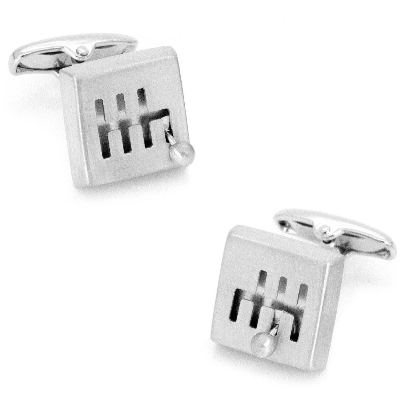 Moving Silver Gear Shift Cufflinks, Novelty Cufflinks, Cuffed.com.au, CL6661, $29.00