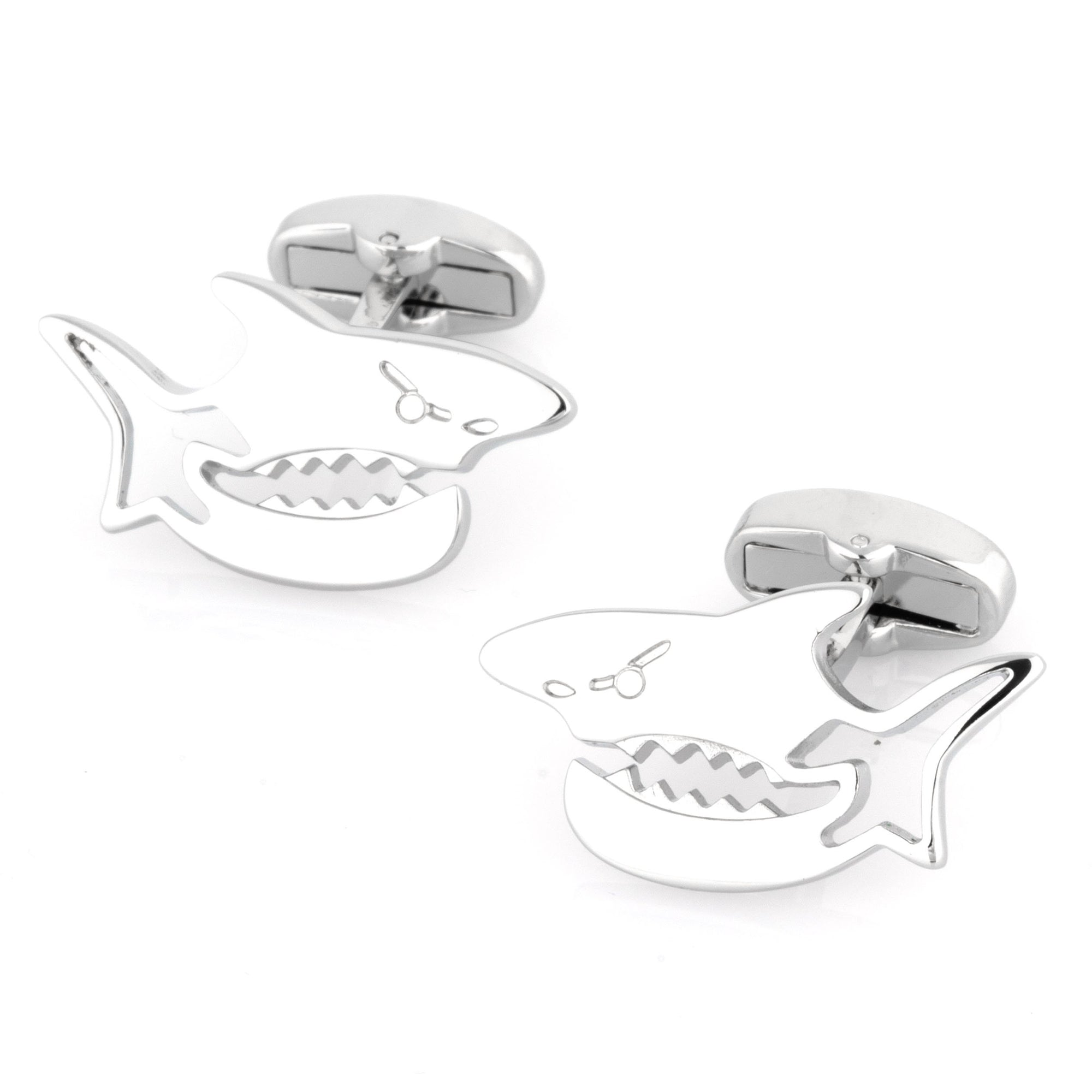 Silver Shark Cufflinks Novelty Cufflinks Clinks Australia Silver Shark Cufflinks