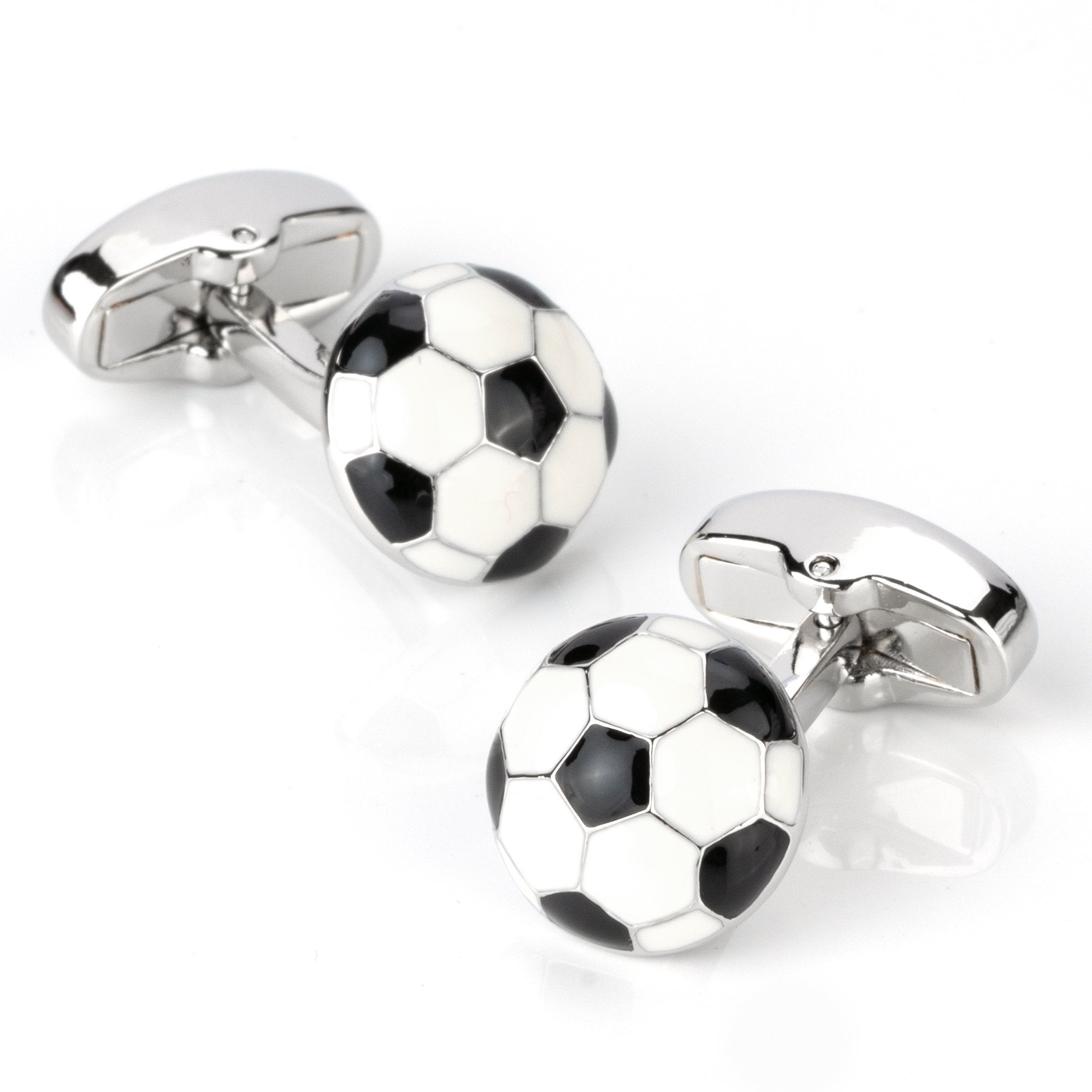 Black & White Soccer Ball Cufflinks, Novelty Cufflinks, Cuffed.com.au, CL4282, Sports, Clinks Australia