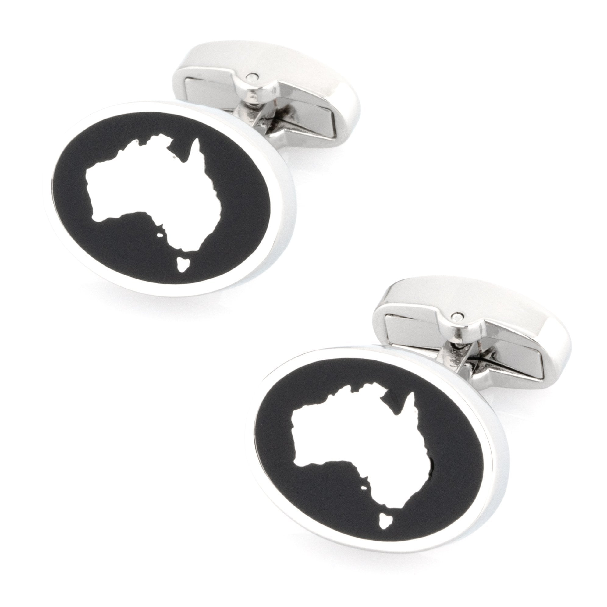Map of Australia SIlver on Black Enamel Cufflinks Novelty Cufflinks Clinks Australia