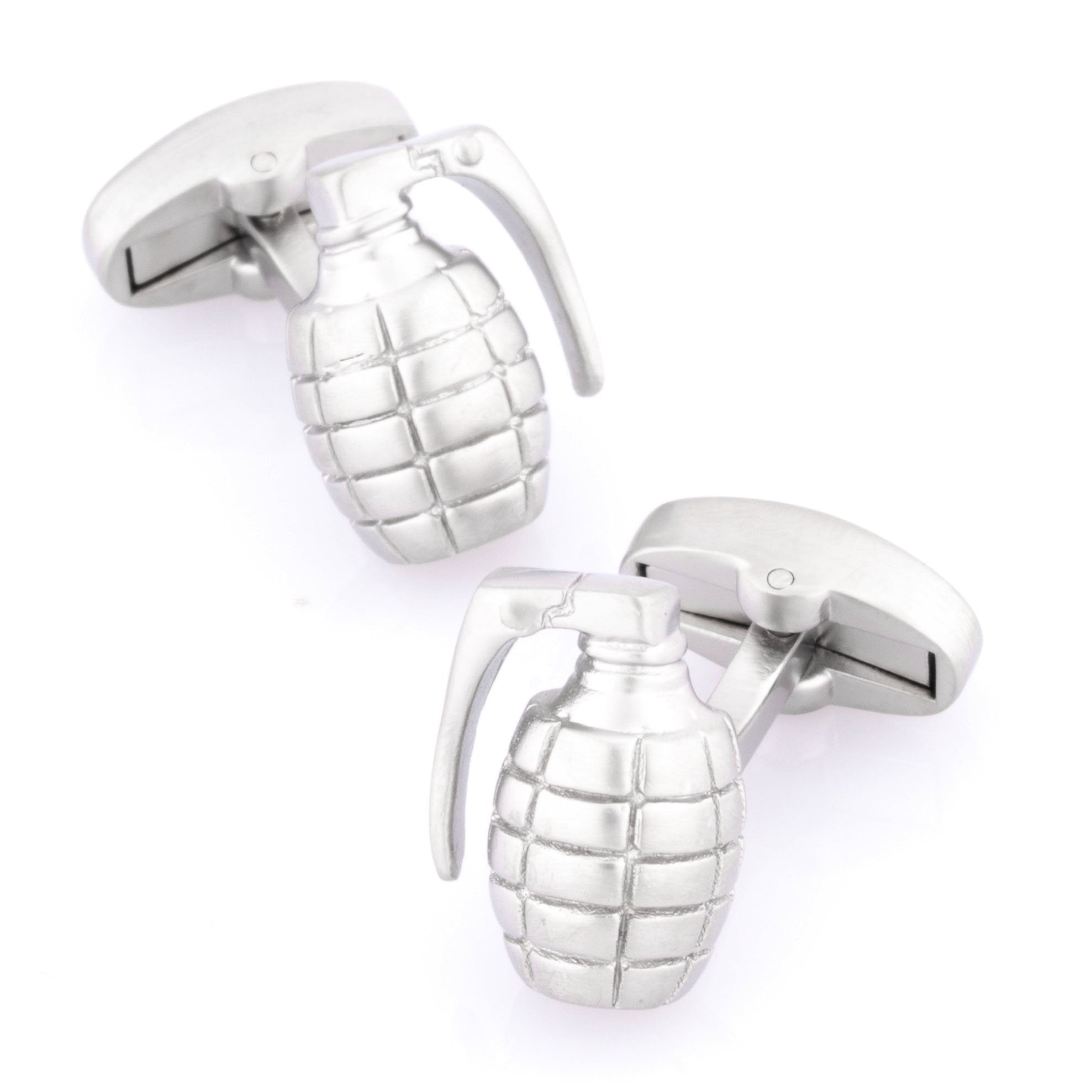 Grenade Silver Cufflinks, Novelty Cufflinks, Cuffed.com.au, CL9210, Career, Military, Military & Weaponry, Silver, Clinks Australia
