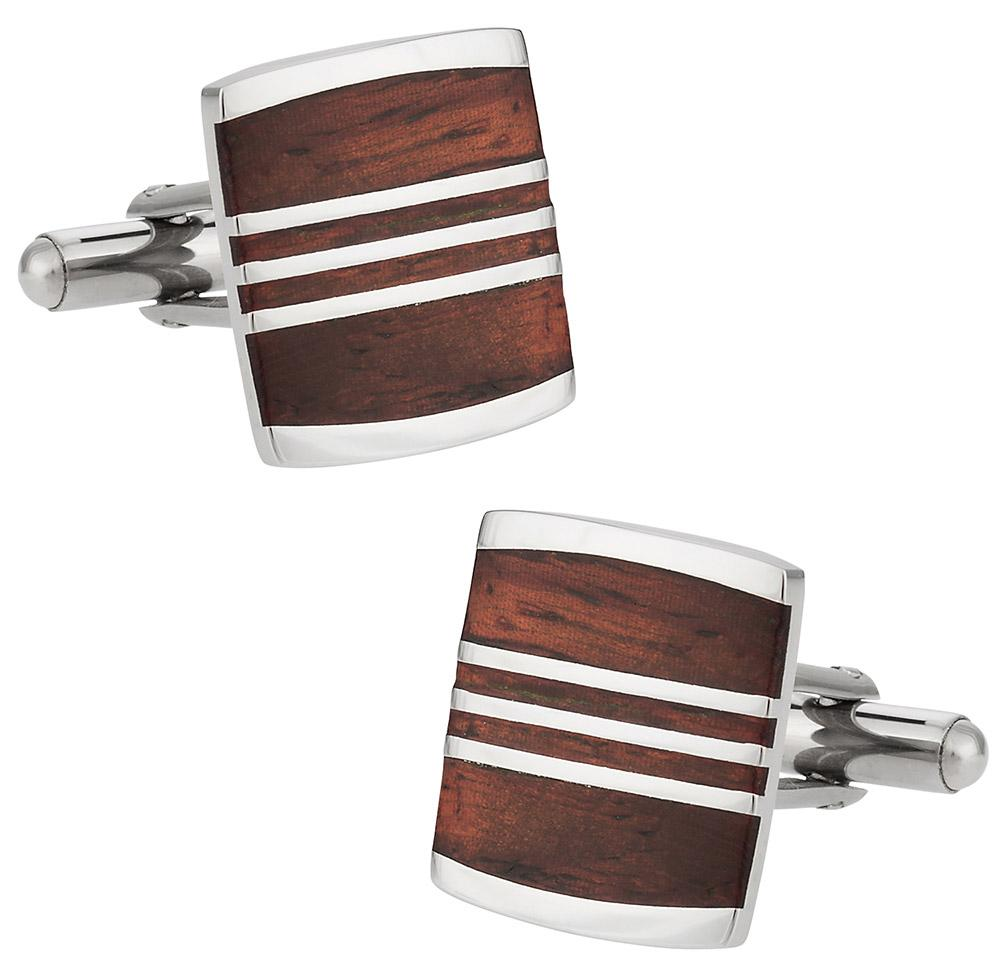 Steel Lines Wood and Stainless Steel Cufflinks Classic & Modern Cufflinks Clinks Australia Default