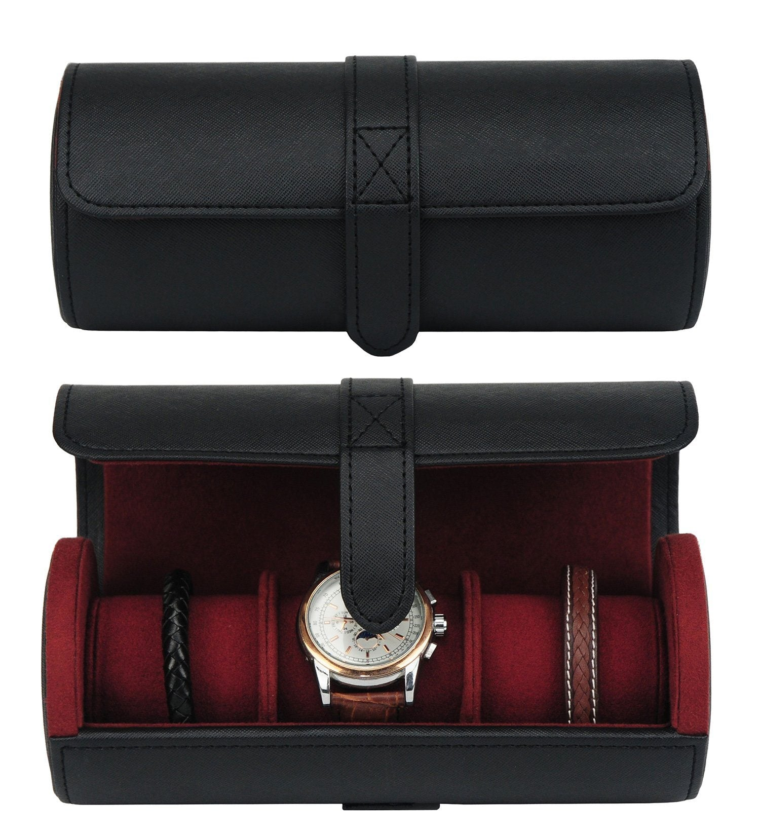 Black Leather Watch Case for 3 Storage Boxes Clinks Australia