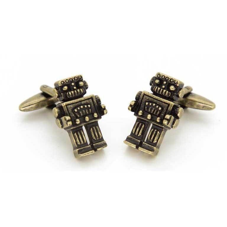 Robot Cufflinks in Antique Burnished Gold, Novelty Cufflinks, Cuffed.com.au, CL9145, $29.00