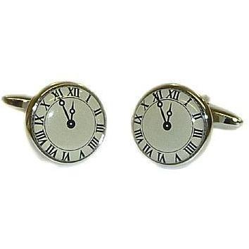 Roman Numeral Clock-Face Cufflinks, Novelty Cufflinks, Cuffed.com.au, ZBC2592, $36.30