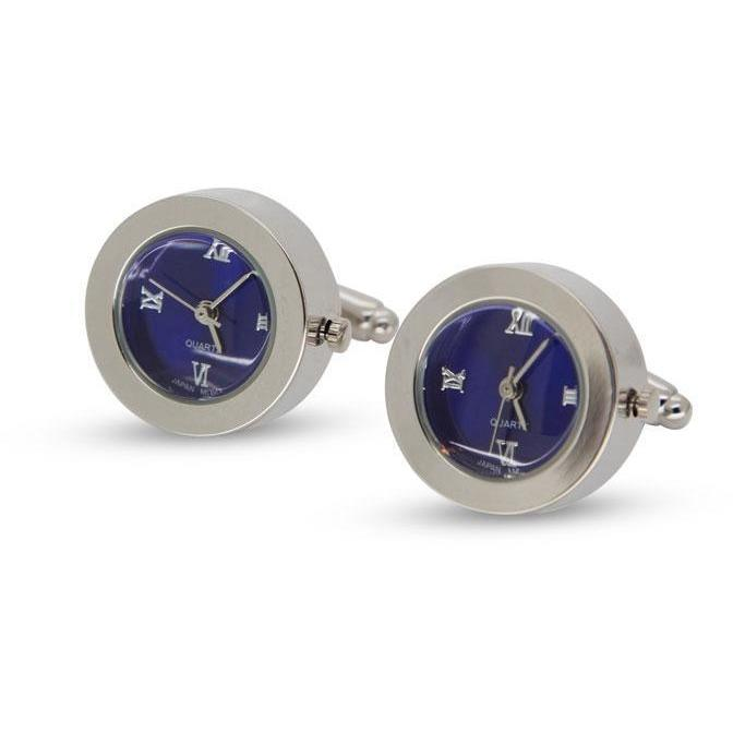 Round Blue Faced Working Clock Watch Cufflinks, Novelty Cufflinks, Cuffed.com.au, CL5552, $59.00