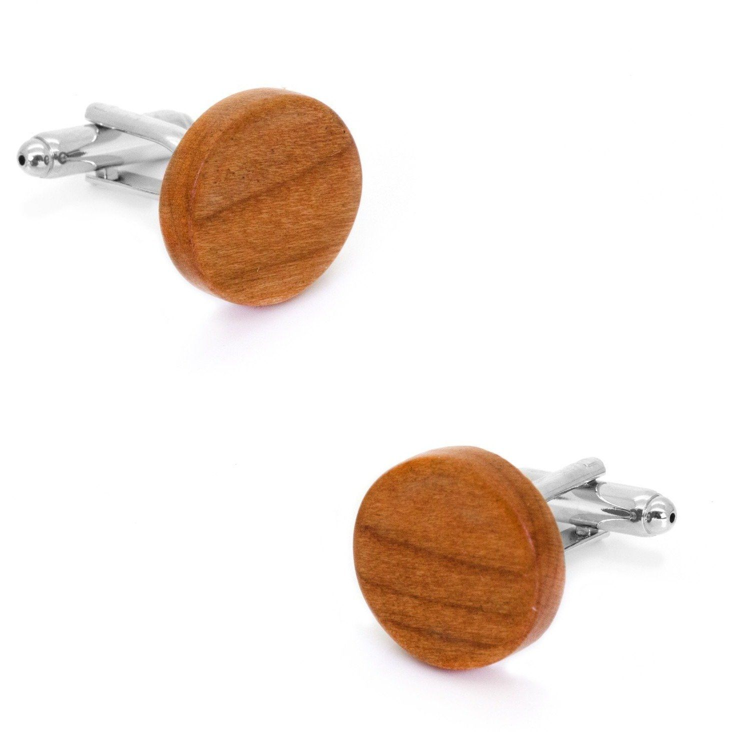 Round Light Brown Wood Cufflinks, Classic & Modern Cufflinks, Cuffed.com.au, CL2564, $29.00