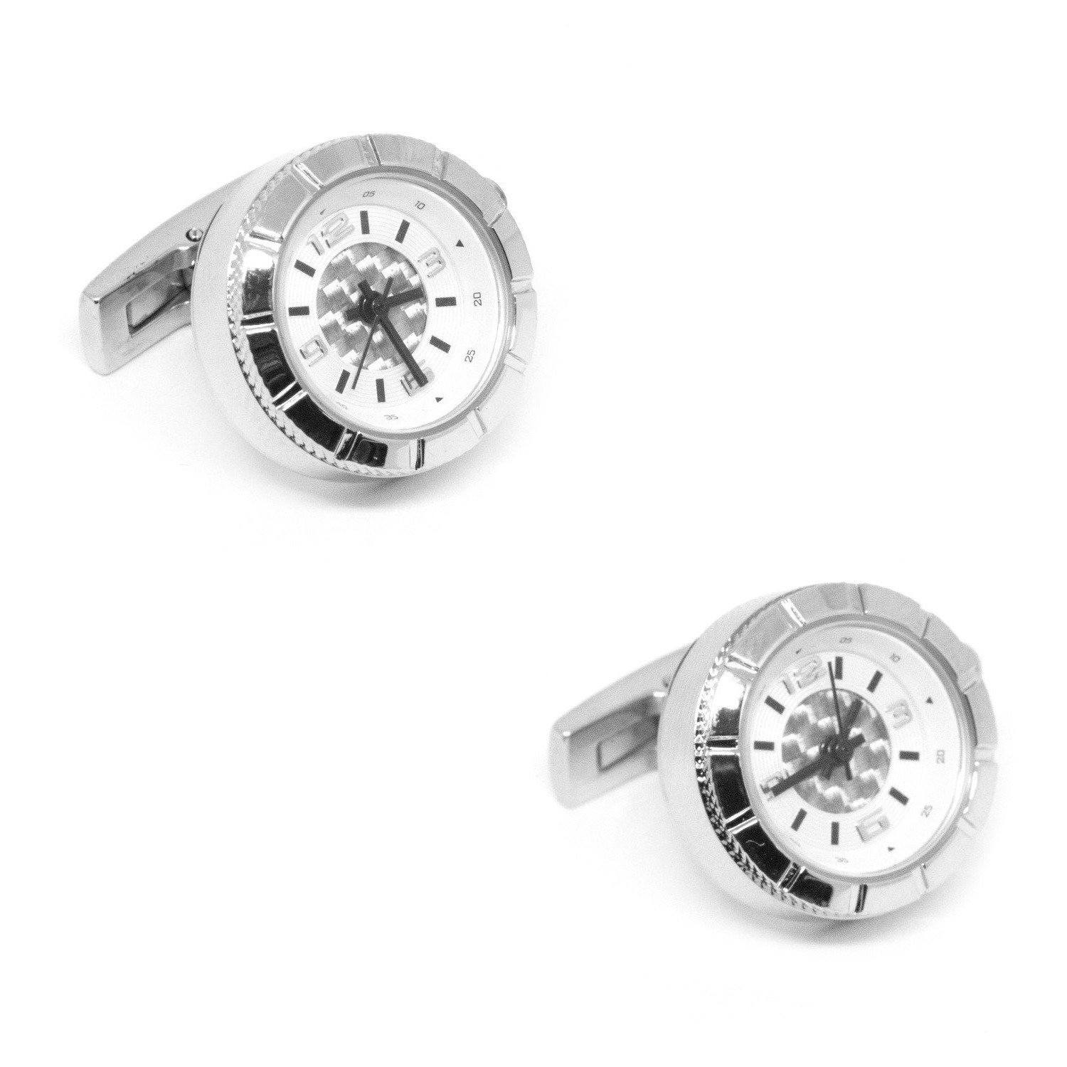 Round Silver Carbon Fibre Working Watch Clock Cufflinks, Novelty Cufflinks, Cuffed.com.au, CL5555, $59.00