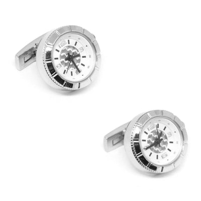 Round Silver Carbon Fibre Working Watch Clock Cufflinks Clinks Australia