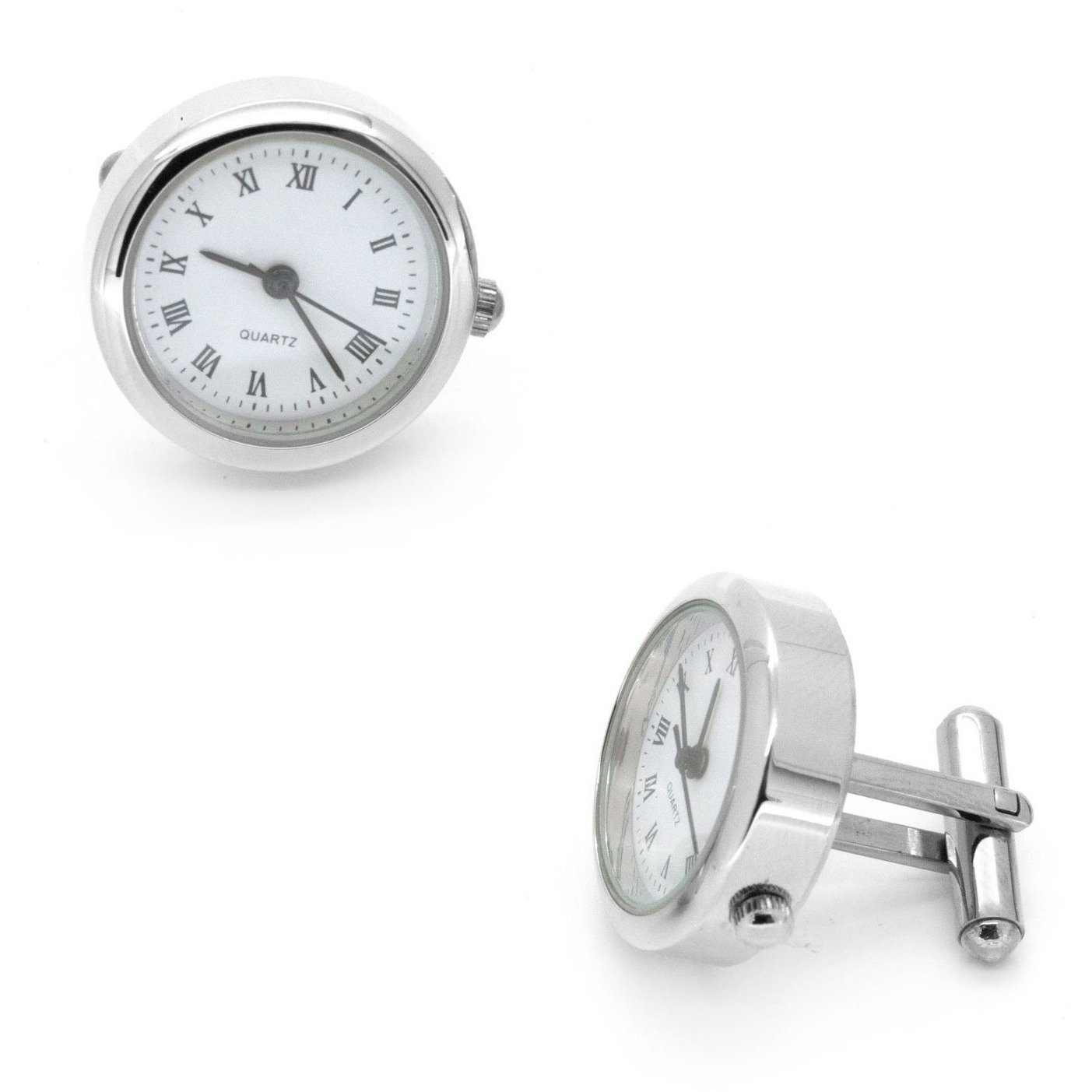 Round White Faced Working Clock Watch Cufflinks, Novelty Cufflinks, Cuffed.com.au, CL5550, $59.00