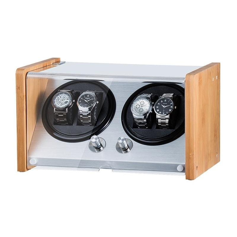 Watch Winder Box 4 Watch in Aluminium & Bamboo Watch Winder Boxes Clinks Default