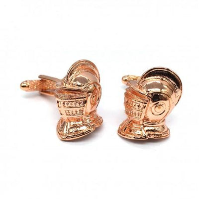 Medieval Knights Helmet Cufflinks in Copper