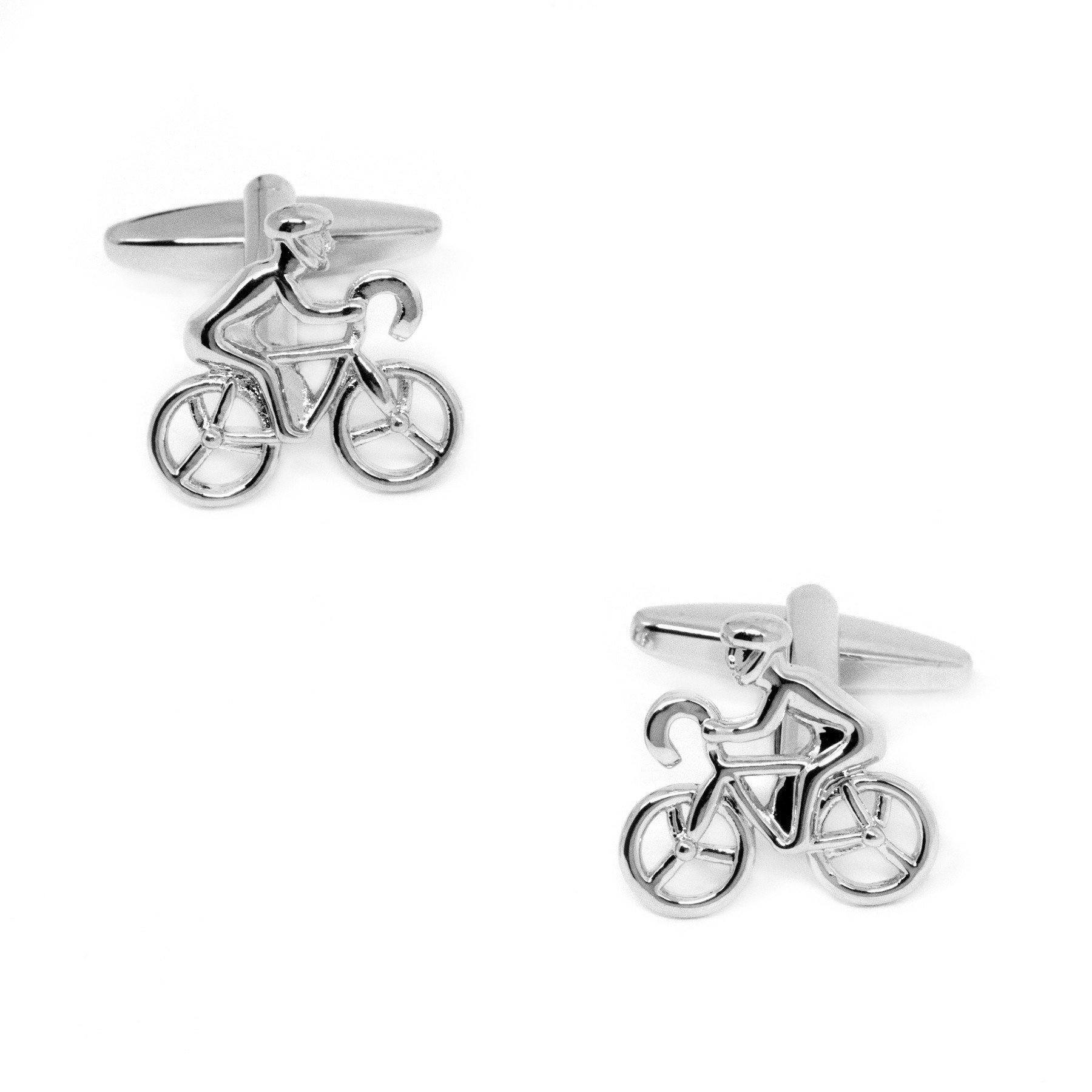 Silver Bicycle Cyclist Cufflinks, Novelty Cufflinks, Cuffed.com.au, CL4041, $29.00