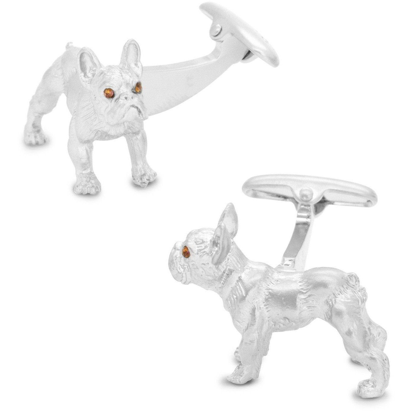 Silver Bulldog Cufflinks with Brown Crystal Eyes from Cuffed com au