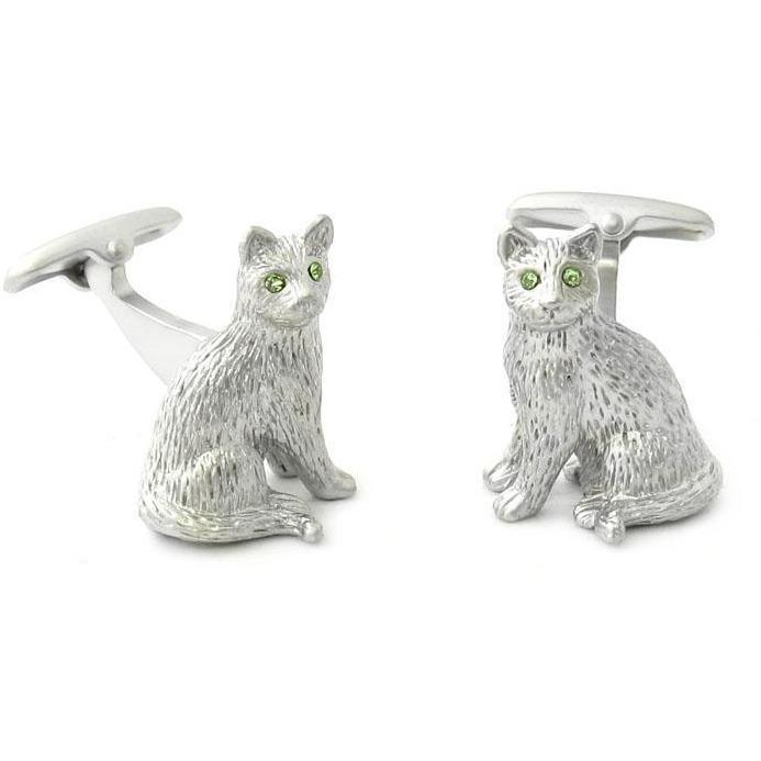 Silver cat with Crystal Eyes Cufflinks Novelty Cufflinks Clinks Australia Silver cat with Crystal Eyes Cufflinks