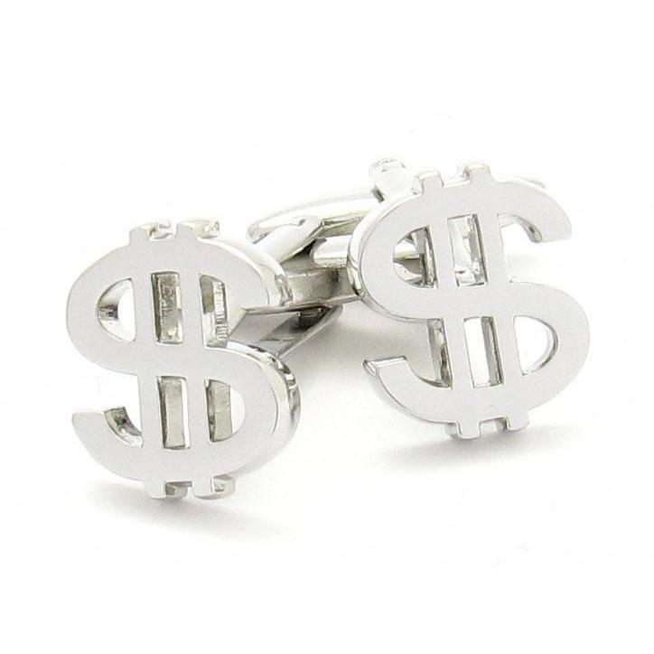 """$"" Silver Dollar Sign Cufflinks, Novelty Cufflinks, Cuffed.com.au, CL9100, $29.00"