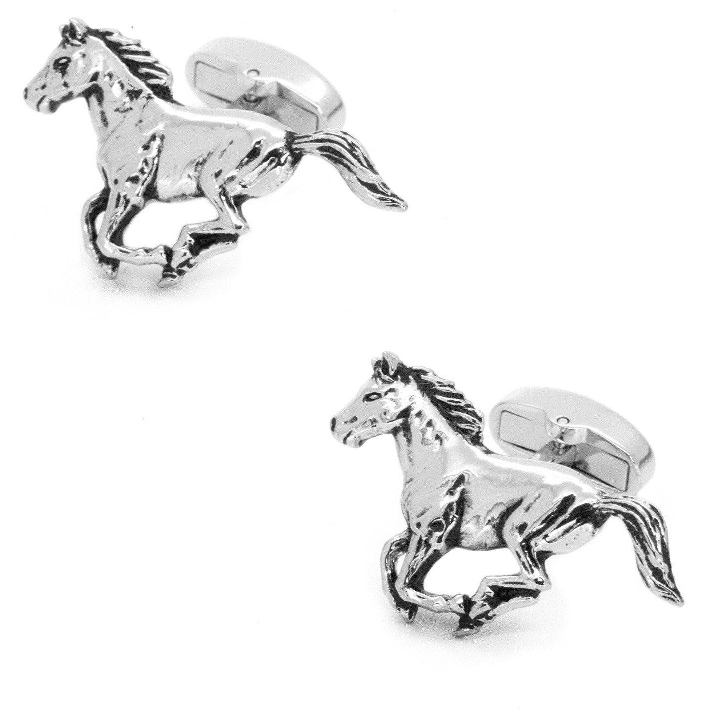 Silver Galloping Horses Cufflinks, Novelty Cufflinks, Cuffed.com.au, CL7006, $29.00