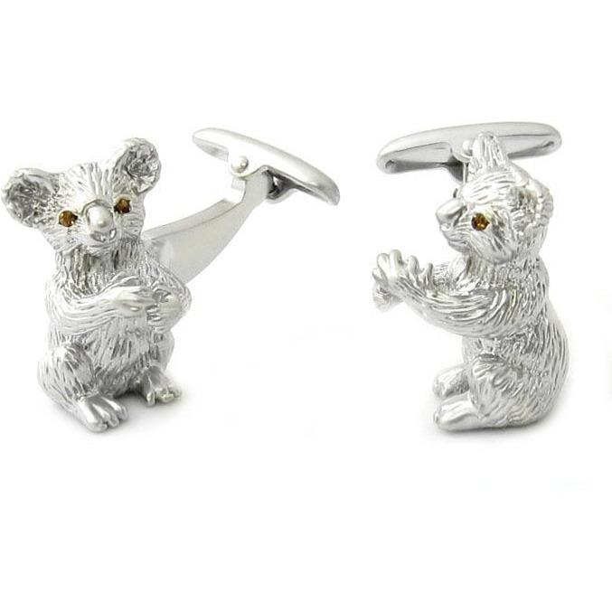 Silver Koala Cufflinks with Crystal Eyes, Novelty Cufflinks, Cuffed.com.au, CL7050, $29.00